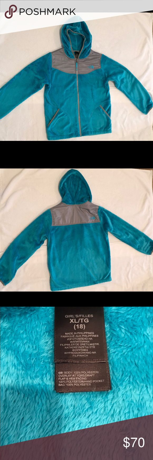 Girls North Face Oso fluffy hooded jacket Girls North Face jacket with hood. Soft, warm and cozy. Excellent condition. Turquoise and Gray, size XL 18 North Face Jackets & Coats