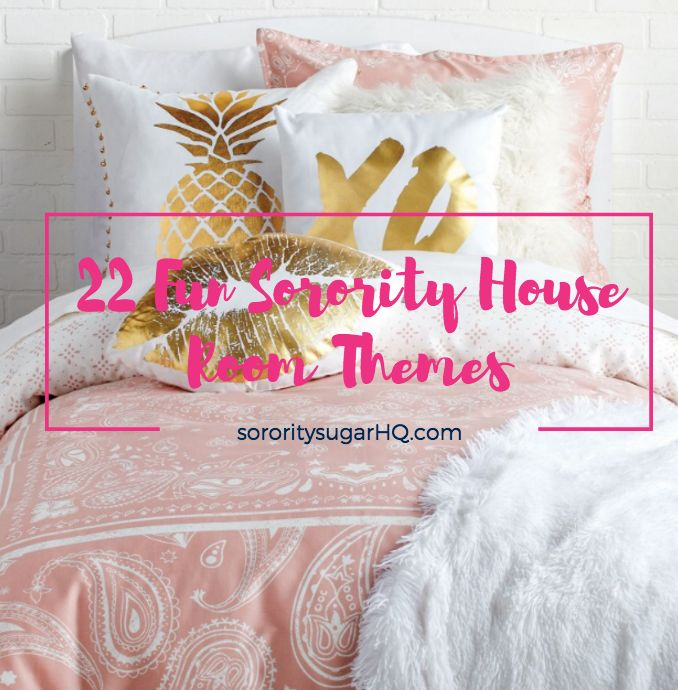 "Are you moving into the sorority house next semester? Are you looking to spice up your room decor? A ""theme"" for your space will pull it all together. Make your bedroom the cutest one in the house. Go with a light touch, or dive in and make a splash with one of these ""22 Fun Sorority House Room Theme Ideas"" from sorority sugar. Get inspiration and find links to the sugary bedding collections and decor accents you're looking for! XOXO…"