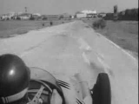Fangio driving the 250F Maserati in Modena, Italy in the 1950s