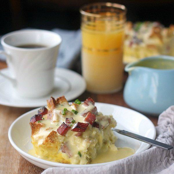 Overnight eggs benedict casserole is my solution to wanting to serve eggs benedict at brunch but not wanting to be standing over the stove poaching eggs. No poaching required here! Just a silky baked custard…