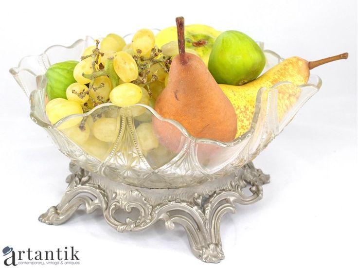 Veche fructiera victoriana, sticlă & staniu