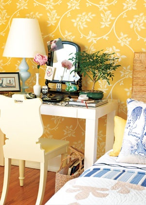 colorful cottage style with wallpaper..