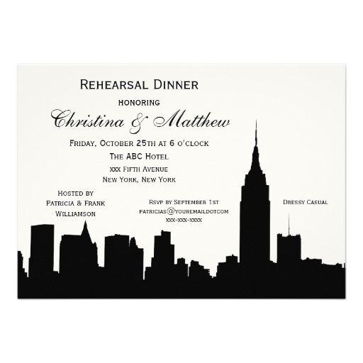 NYC Skyline Silhouette Rehearsal Dinner Invitation