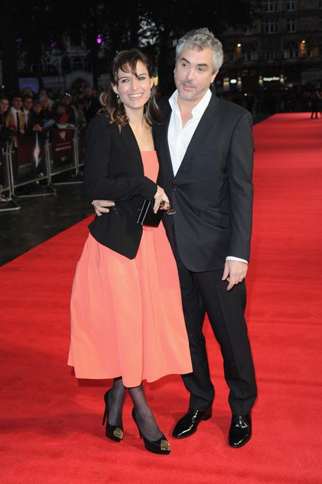 Alfonso Cuarón with his partner at the London Film Festival premiere of Gravity