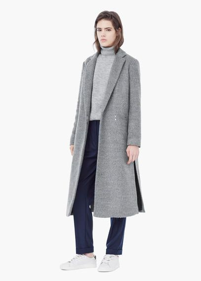 Textured long coat   MANGO