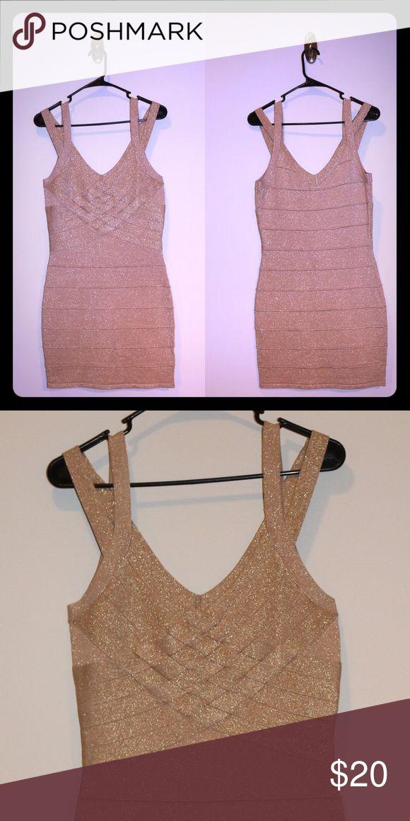 Gold bandage dress Gold bandage dress from boohoo. NWOT. Size 8. Boohoo Dresses Mini