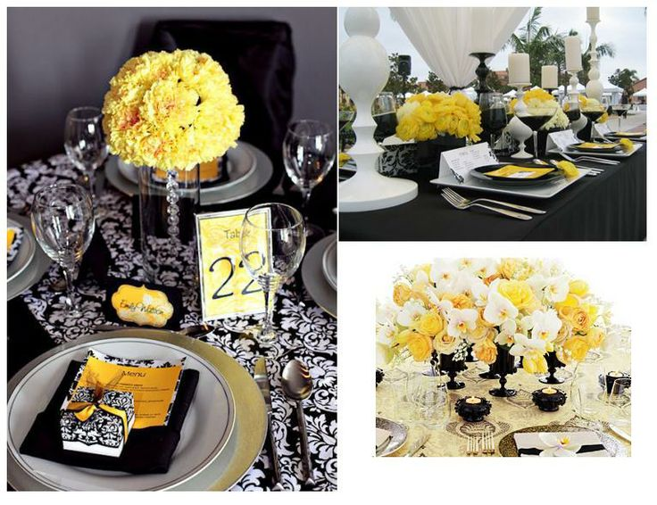 Black and Yellow wedding tabletop ideas  http://marzime.hubpages.com/hub/_BELLAMEVENTS_WeddingConcept