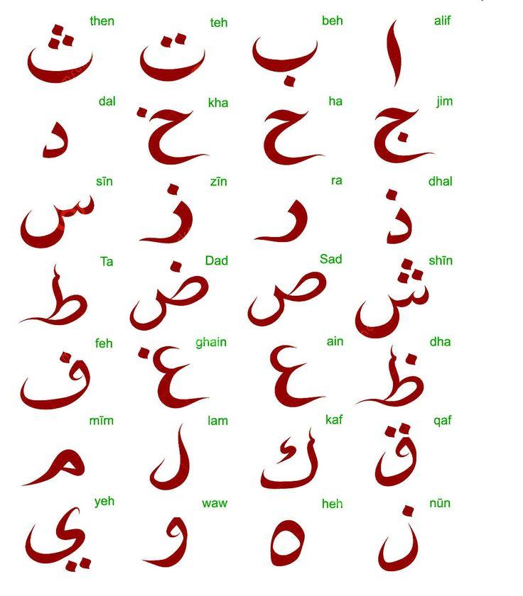 arabic alphabet colour