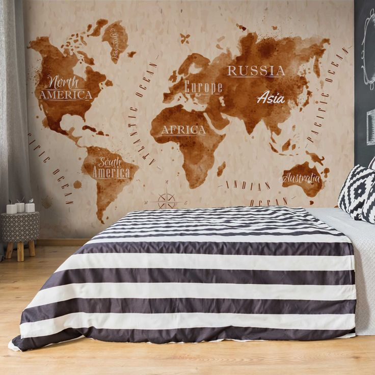 Carta da parati larga World Map Watercolor Beige Brown