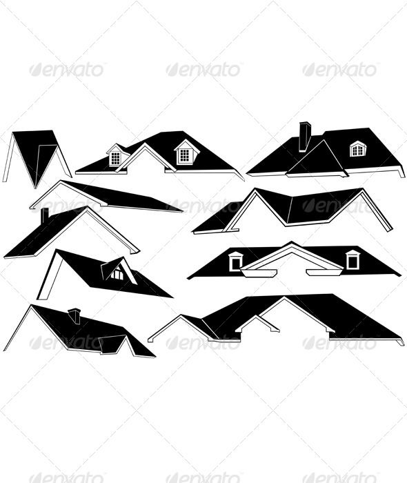 Set Of Different Roofs Architecture Building Icons