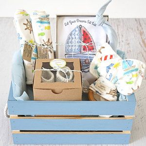 Baby Boy Gift Basket, Organic Gift Basket, Sailboat Theme, Baby Shower Gift, bodysuit, 2 wash/burp cloths, knot cap, teether, booties