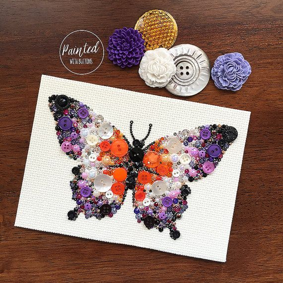 Butterfly Button Art Vintage Button Artwork by PaintedWithButtons