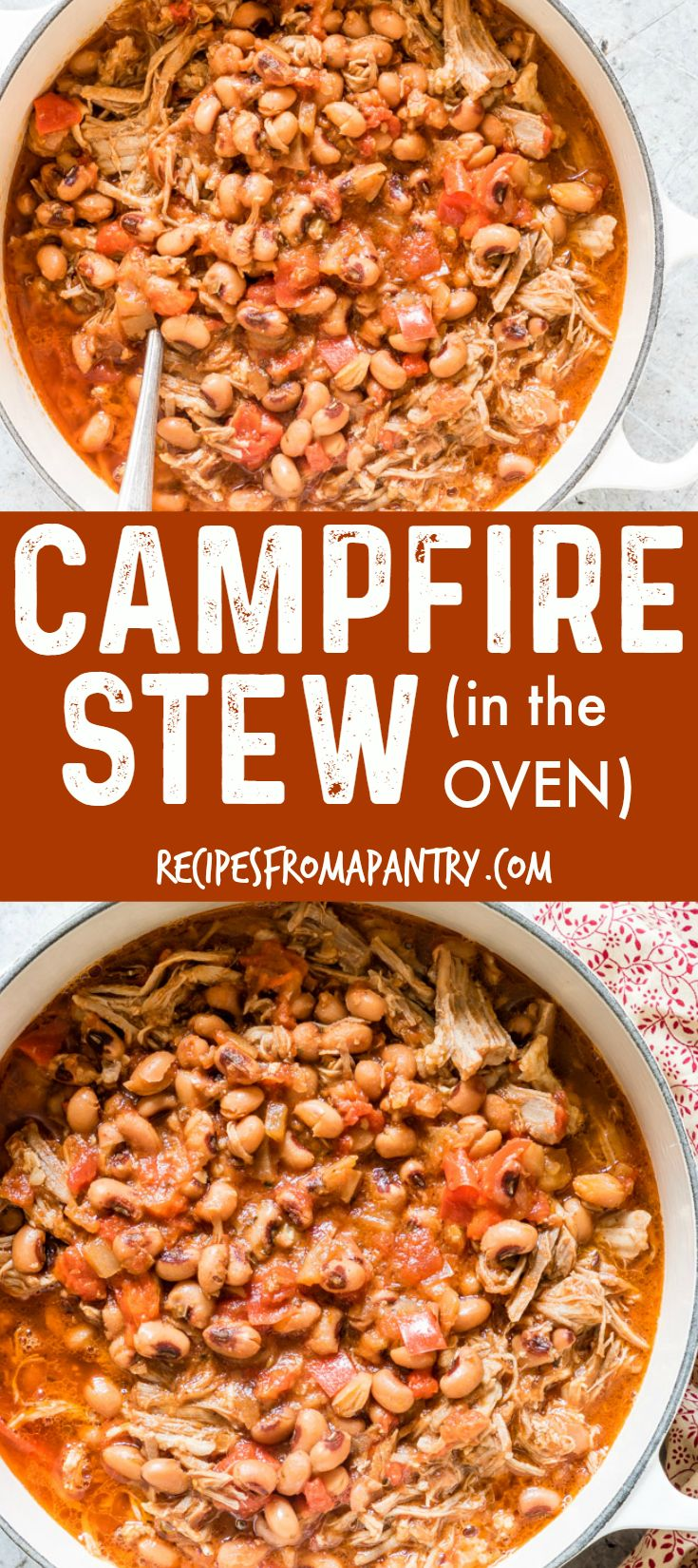 Check out this AMAZING and FLAVOURFUL oven Campfire Stew recipe! You'll learn how to make Oven Campfire Stew as well as Slow Cooker Campfire Stew, Instant Pot Campfire Stew, and of course Campfire Stew on the campfire. A hearty and easy stew recipe from Recipes from a Pantry. #campfirestew #instantpot #camping #camprecipes #stew