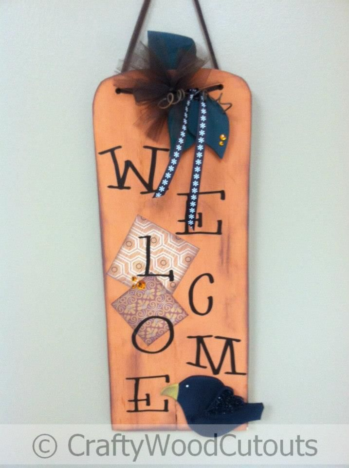 Hanging Welcome Pumpkin Sign Thanksgiving Wood Craft from Crafty Wood Cutouts