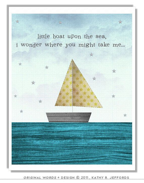 Nautical Baby Boy Room: Sailboat Art Travel Quote Print Nautical Nursery Artwork