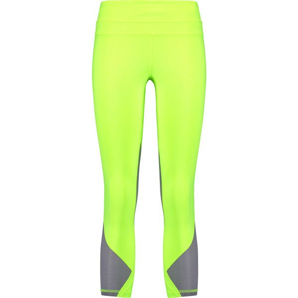 Athletic Propulsion Labs Cropped mesh-paneled neon stretch-jersey... ($58) ❤ liked on Polyvore featuring activewear, activewear pants, bright yellow, neon activewear, petite activewear, petite sportswear, petite activewear pants and stretch jersey