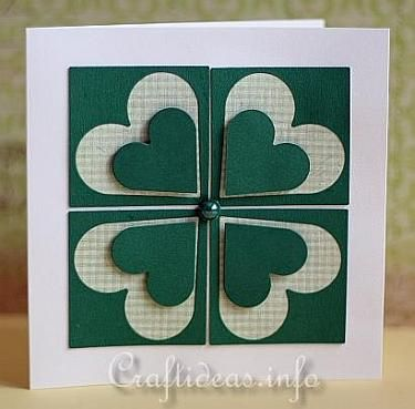 St. Patrick's Day Card With a Shamrock. Instructions on website. Four squares. Each square: Heart punched out. Designer paper placed behind square. Attach to card base. Smaller heart punched out & popped up. Finish with green half-bead in center of the four squares.
