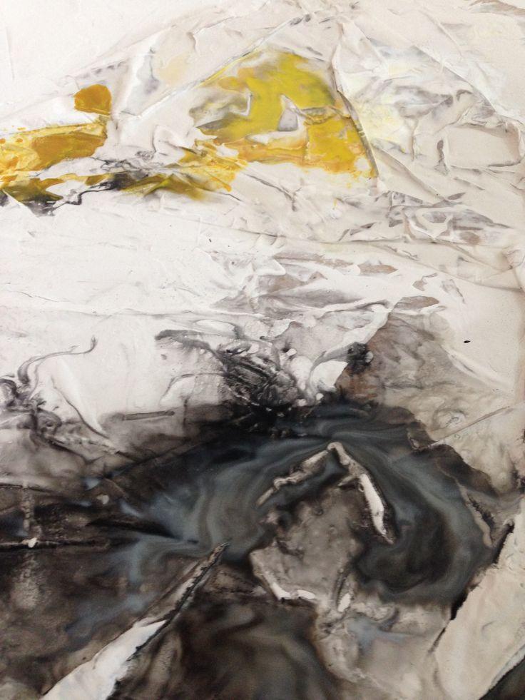 """Terranova"", 1x1m, Acryl, ink, plaster, paper on canvas, 2015"