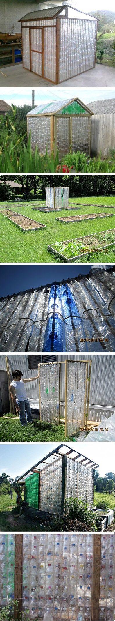 water bottle shed Invernaderos reciclando botellas de plástico