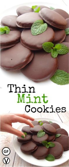 """These Gluten-Free Thin Mint Cookies are so good you can't eat just one.   Reminiscent of the classic """"Girl Scout"""" cookie. Vegan, gluten-free and require only 10 ingredients. Enjoy a healthier option all year long."""