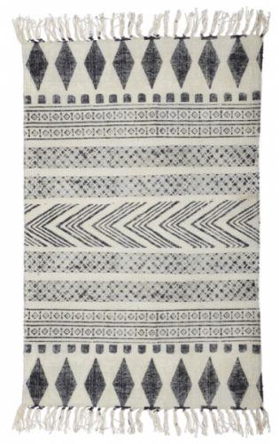 Teppe i 100 % bomull, ca 60 x 90 cm, fra House Doctor. Teppet er laget for hånd og størrelsen kan variere litt. de kan også det vakre mønsteret som er håndtrykket. Grå/sort.