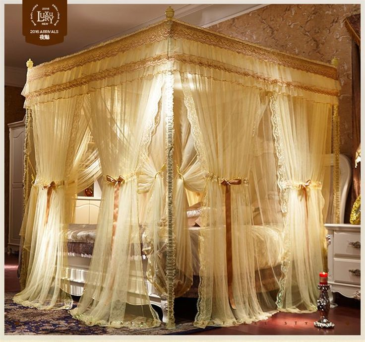 Best Luxury Bed Canopy Curtain Valance Double Layers Stainless 640 x 480