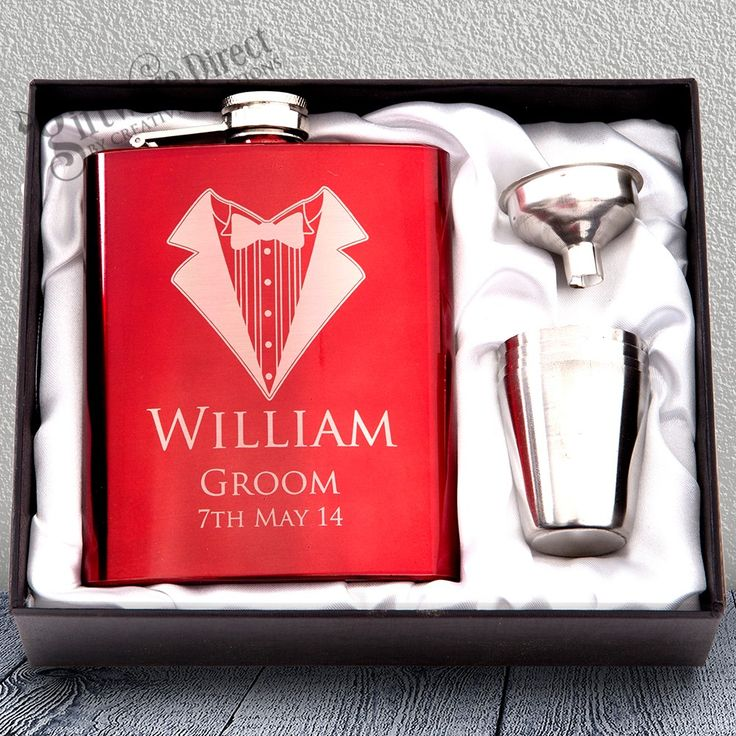 7oz Red Hip Flask Gift Set Engraved Stainless Wedding Groomsman Best man present From #GiftwareDirect