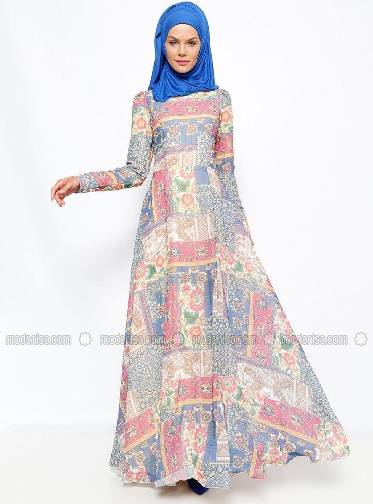 Şifon Günlük Elbise - Lacivert - Dilek Etiz
