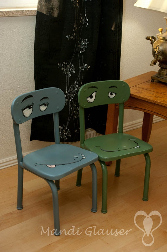 Upcycled 1950s Vintage Chair Set with silly faces by AnimalBums, $85.00