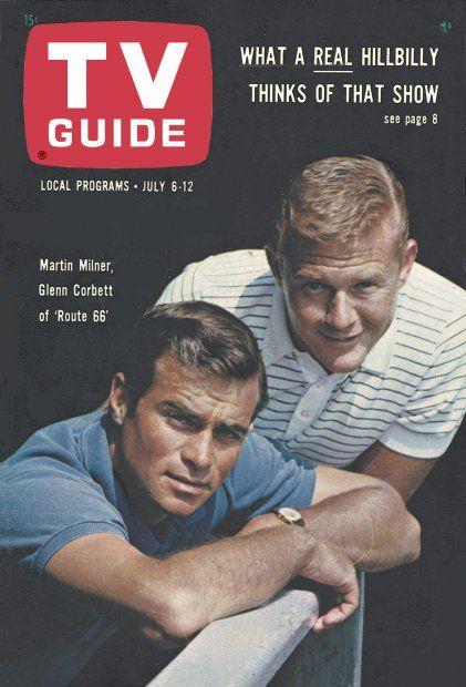 """TV Guide, July 6, 1963 - Martin Milner and Glenn Corbett of """"Route 66"""""""