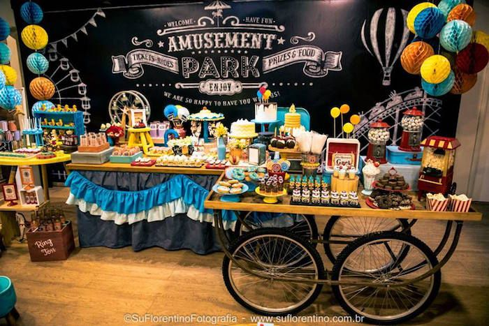 Main Sweet Table from a Vintage Carnival + Amusement Park Party via Kara's Party Ideas | KarasPartyIdeas.com (35)