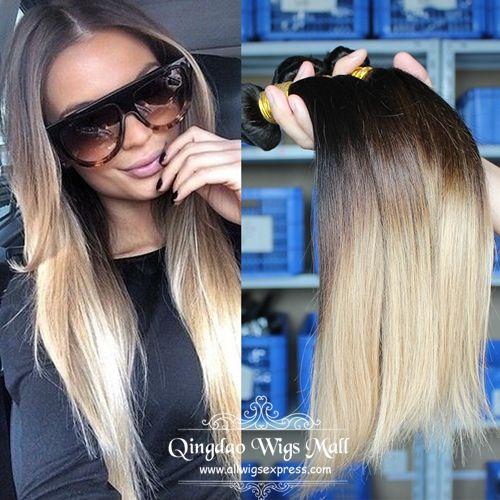 Ash Blonde Ombre 3 Tones Best Cheap Real Human Hair Extensions 3pcs/Lot