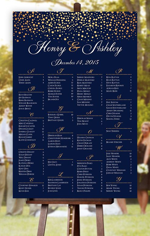 Wedding Seating Chart   RUSH SERVICE  Gold Polka by HappyBlueCat