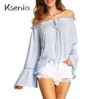 Ksenia Blusas Camisas 2017 Moda loose summer beach hombro volante de gasa blusa sexy Mujeres Tops mujer blusa blusas