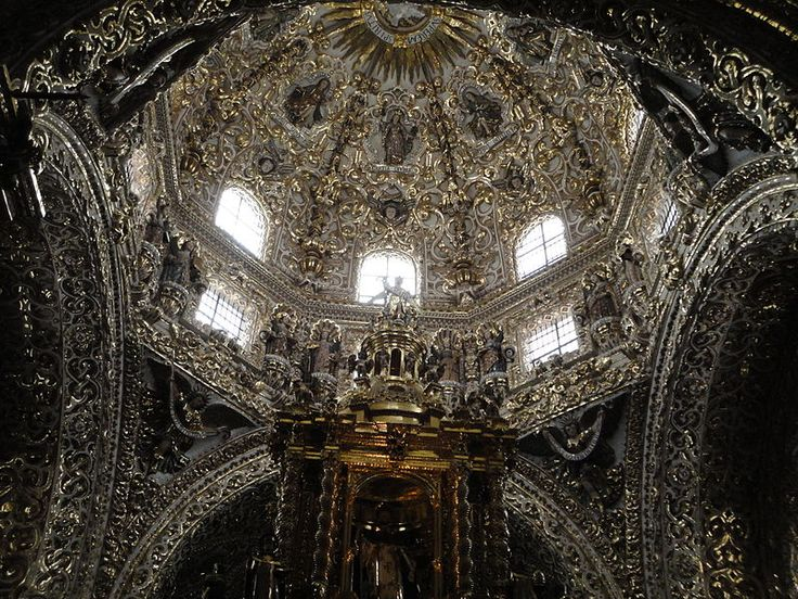 Cúpula de la Capilla del Rosario. ciudad de Puebla, México. Obra del siglo XVII.
