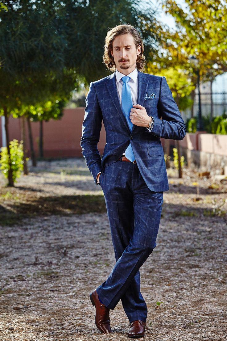 Men's blue plaid tailored two-piece suit.