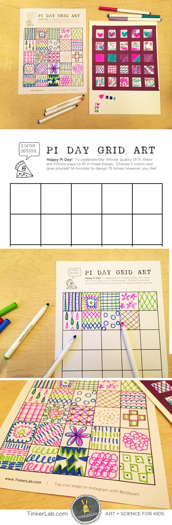 This fun and easy Pi Day Art Activity will get your creativity flowing, and it's a fun way to build enthusiasm around Pi Day 2015 | TinkerLab.com