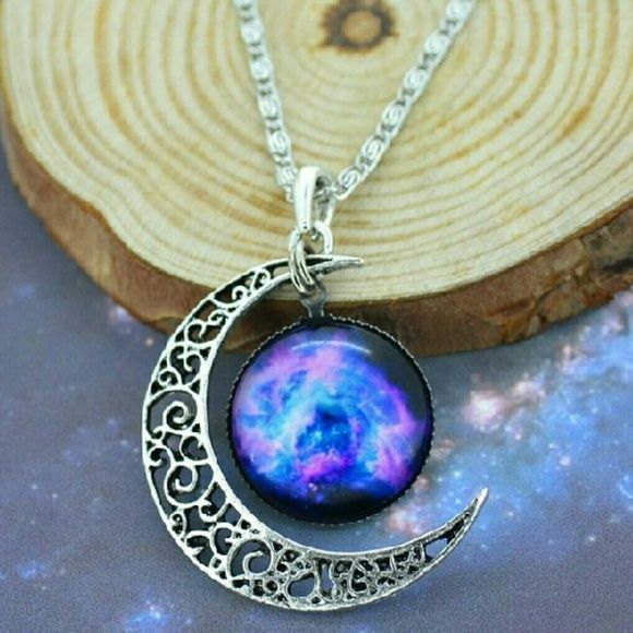 NEW Silver Galaxy Cresent Moon Necklace Beautiful silver cresent moon necklace with a galaxy pendant. Only one available! Jewelry Necklaces