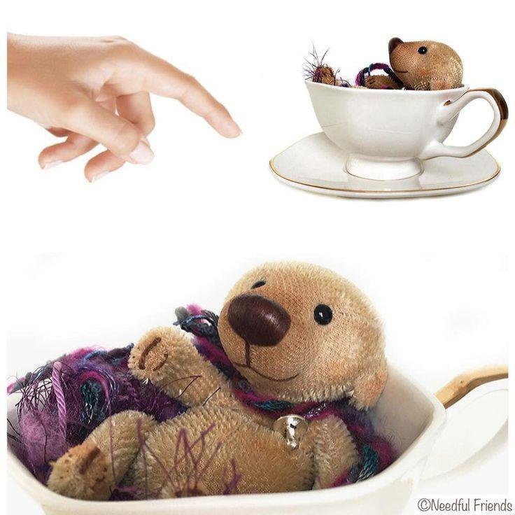 #tiny #teacup #miniature #bear #artistbear #needfulfriends #Needful #Friends 4 inches