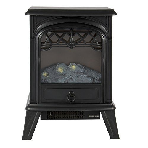 Free Standing Electric Fireplace Heater Portable Flame Wood Log Fire Stove 1500W #FreeStandingElectricFireplaces