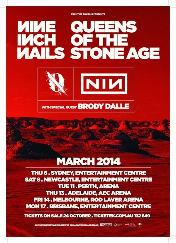 Nine Inch Nails & Queens Of the Stone Age - 2014 Australia Tour Poster
