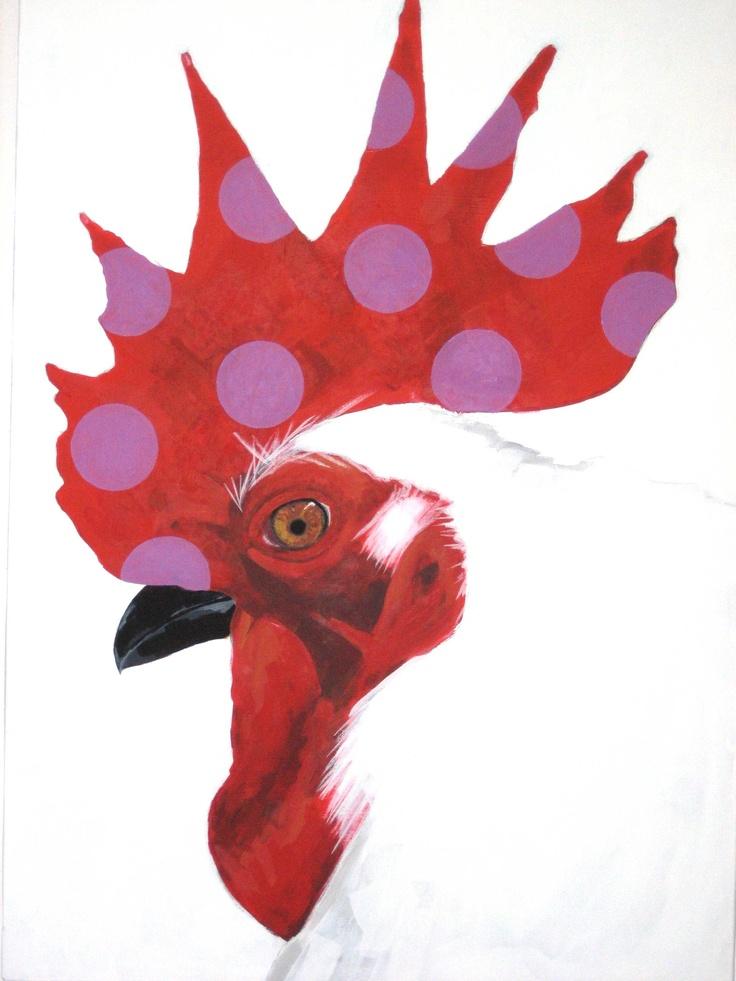 "Linda Riva Painting: ""Un gallo a pois 3"""