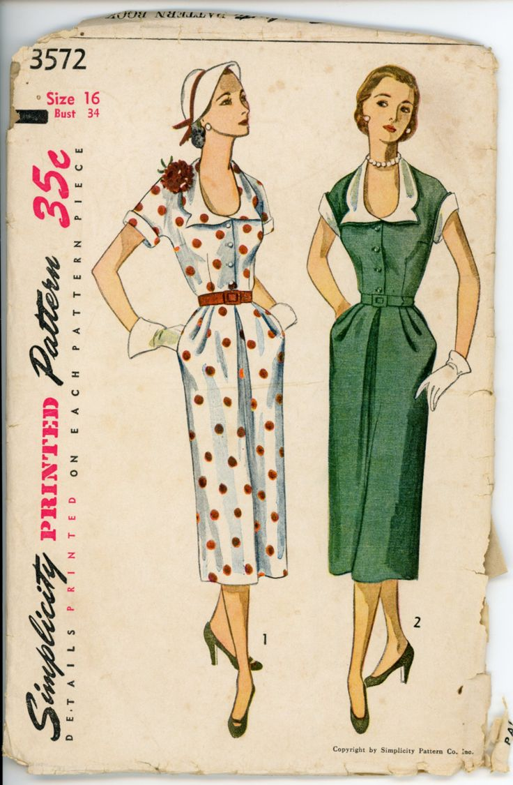 Simplicity 3572; ©1951; Misses' One-Piece Dress with Detachable Collar and Cuffs