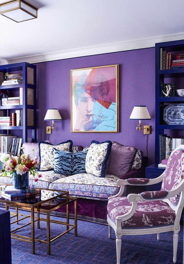 couleur de l annee 2018 peinture murale ultra violet salon #interiordesign #color #ultra #violet