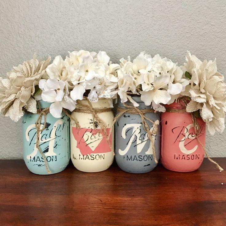 Aqua, Grey and coral Montana home Mason jar set   rustic home decor
