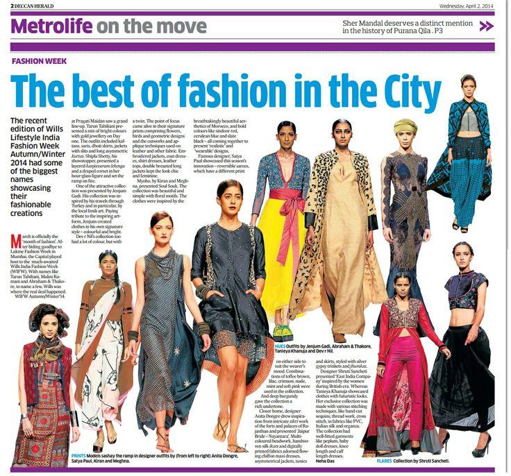 Designer Tanieya Khanuja_  Deccan Herald Coverage _ 2nd April'14