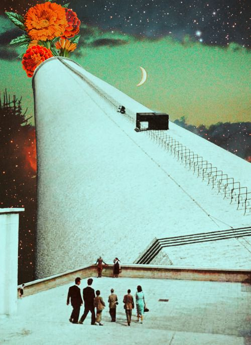 Yearning For The Night. Surreal Mixed Media Collage Art By Ayham Jabr.
