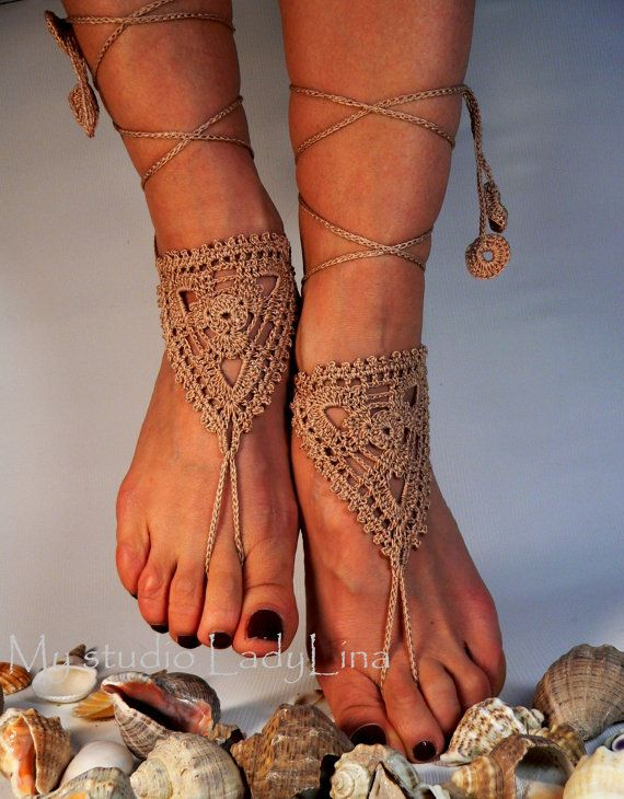 Hey, I found this really awesome Etsy listing at https://www.etsy.com/listing/115249104/crochet-tan-barefoot-sandals-anklet