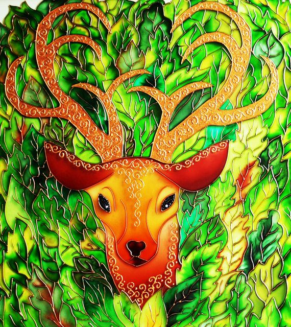 The Spirit of the Forest glass painting glass art by GlasssMagic