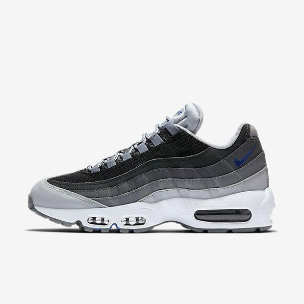 Chaussure Nike Air Max 95 Pas Cher Homme Essential Gris Loup Noir Gris Fonce  Bleu Electrique Bienvenue au magasin de dégagement de nike, cette paire de  ...